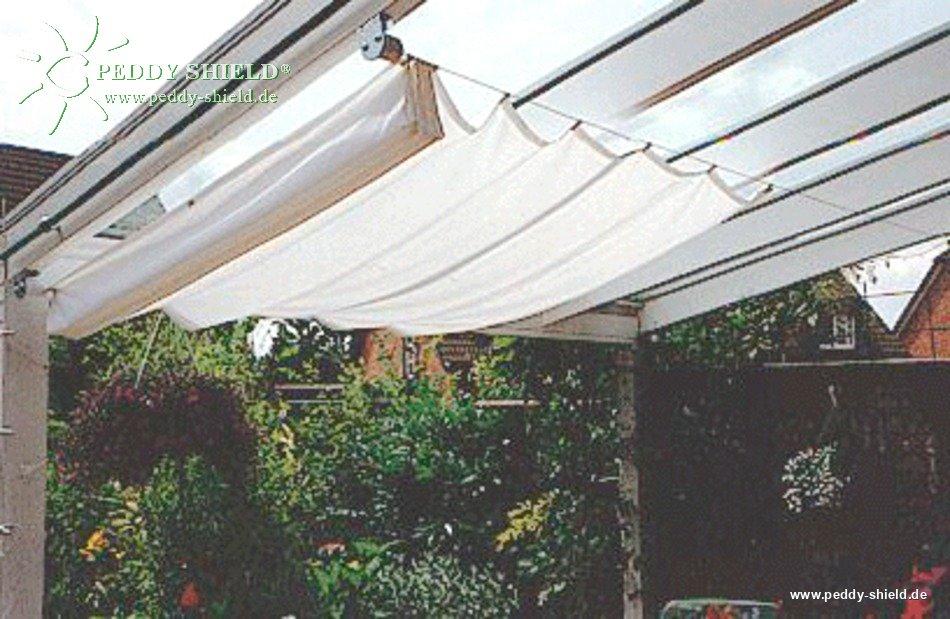 Toldo de sol 270 x 140 cm unicolor cinzento claro for Ganchos para toldos