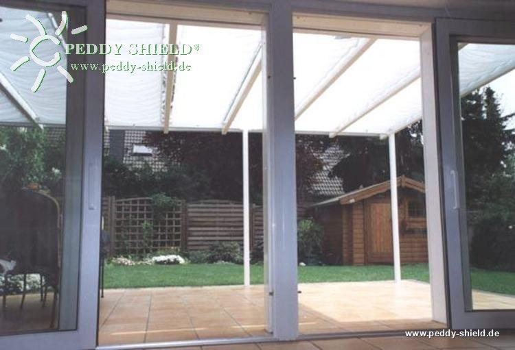 Toldo de sol 420x140 cm unicolor branco for Ganchos para toldos